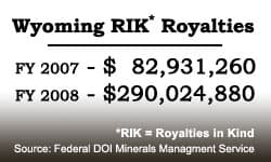 In one year, the amount of federal natural gas royalties collected under the controversial Royalty in Kind program jumped more than three fold, making it the largest single source of Wyoming's state income.
