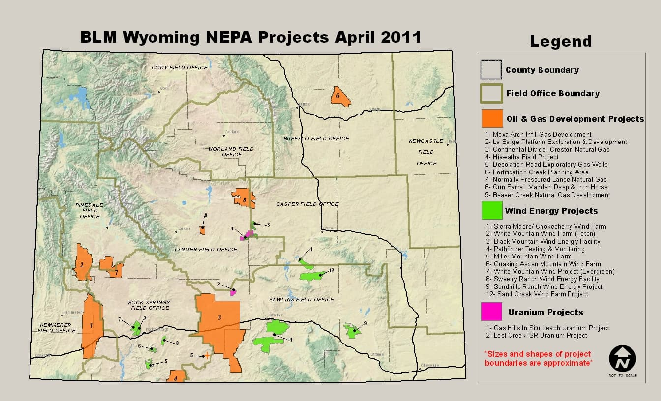 Proposed Wyoming Energy Development On U S Bureau Of Land Management Land Click To View