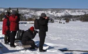 Photographers at Old Faithful