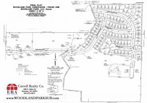 Woodland Park Subdivision plat map