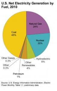 U.S. Net Electricity Generation by Fuel in 2010