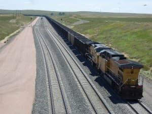 Union Pacific coal train in Converse County, Wyoming