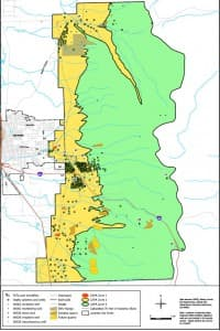 Potential contaminant sources, septic systems and wells in the Casper Aquifer Protection Area.