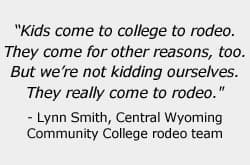 Lynn Smith, Central Wyoming Community College rodeo team