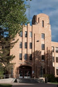 The student union building on the University of Wyoming campus