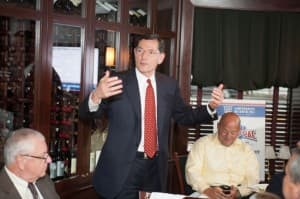 Sen. John Barrasso speaks at the COMP PAC fundraising dinner on June 24, 2012 in Washington D.C. A Texas pharmacy was the top campaign contributor to Barrasso in 2012, signifying the Wyoming senator's growing clout in national politics.