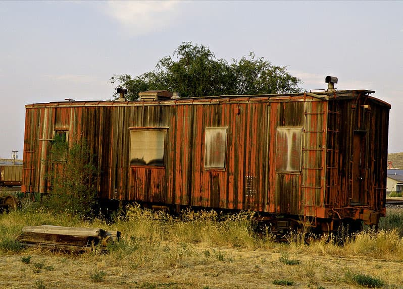 Rusty train car, Sheridan, Wyoming