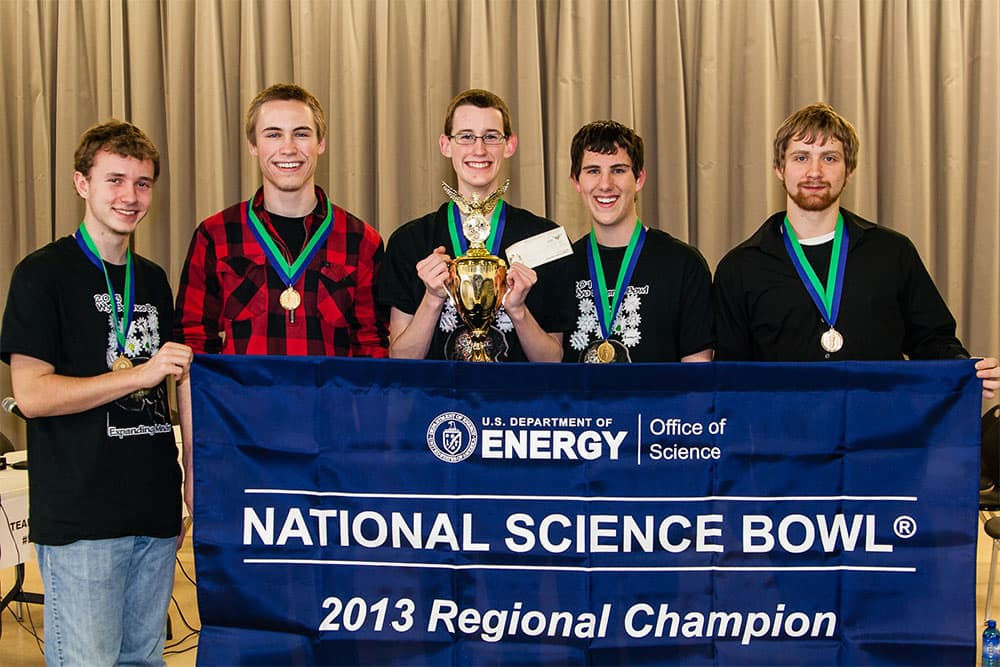 Wyoming Regional Science Bowl Champions Kelly Walsh Team 1: Alan Hatlestad, Ian Moffett, Gabe Miller, Zack Fullerton, and Alex Olson. Not pictured is their coach, Mark Hileman, a science teacher at Kelly Walsh High School. (Doug Tunison/WyoFile — click to view)