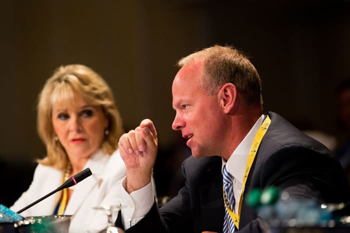 Governor Matt Mead speaks during a July 2012 National Governors Association meeting in Williamsburg, Virgina. Mead and 22 state senators recently chose to avoid Medicaid expansion in Wyoming