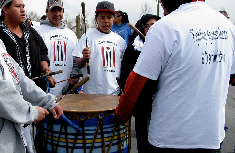 The drum group kept the beat steady for marchers during the Awareness Walk.