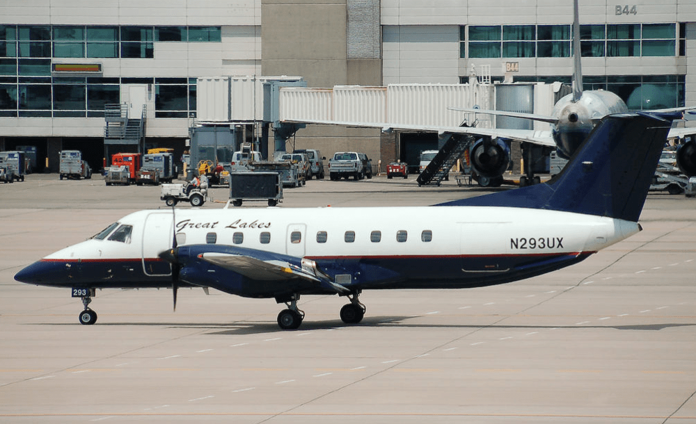 A 19-seat Great Lakes aircraft taxis at Denver International Airport. A large portion of the company's revenue comes from Essential Air Service subsidies. (Wikimedia Commons—Click to view)