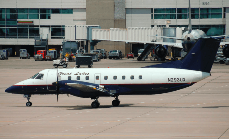 A 19-seat Great Lakes aircraft taxis at Denver International Airport. A large portion of the company's revenue comes from Essential Air Service subsidies. (Wikimedia Commons)