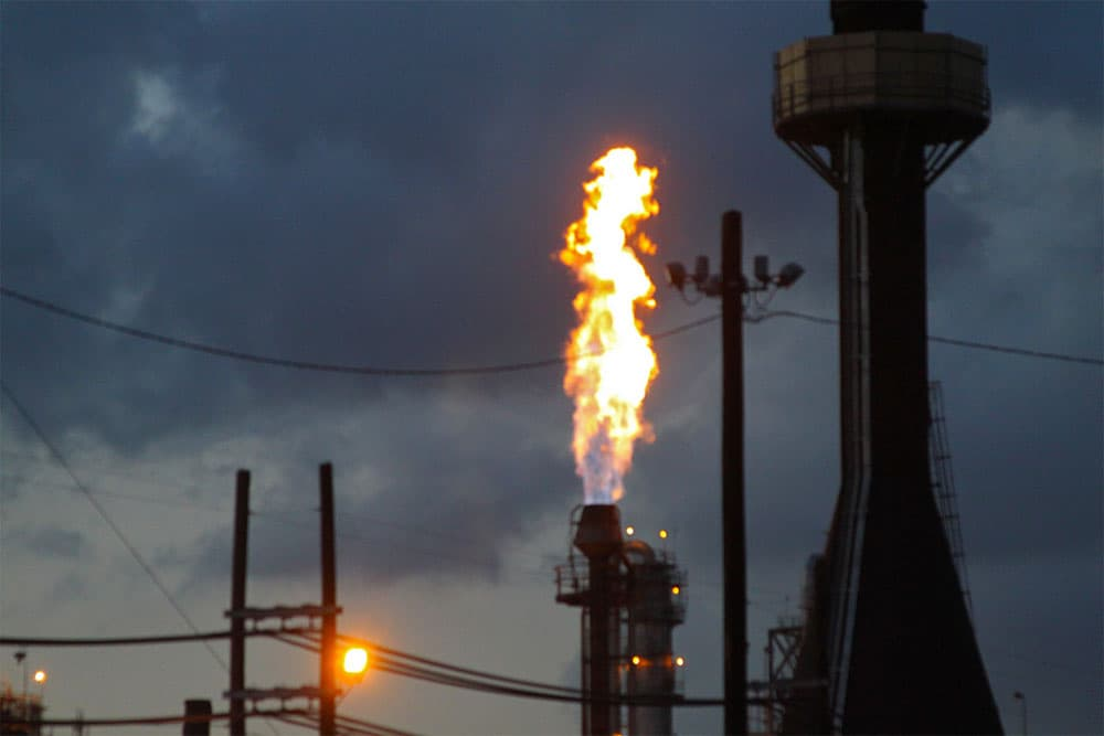 A flare is emitted at a plant in La Porte, Texas.
