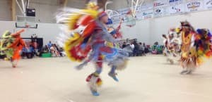 Keegan Her Many Horses performs in the men's fancy dance at the Central Wyoming College powwow on Saturday night. Earlier in the evening, the high school junior won the $500 first prize in a teen dance competition at Wind river Casino.