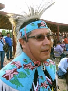 Darwin St. Clair, the chairman of the Eastern Shoshone tribe, took time out from the powwow to discuss the cancer study.
