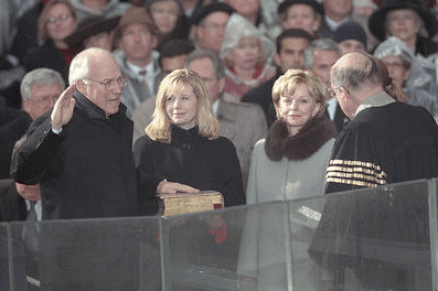 Liz Cheney looks on at Dick Cheney's first inauguration as vice president of the United States in 2000. (White House Photo)