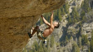 "BJ TIlden climbs on The film ""Wind and Rattlesnakes; the Birth of a Western Climbing Town."" (Photo from the film ""Wind and Rattlesnakes; the Birth of a Western Climbing Town"" — click to enlarge)"