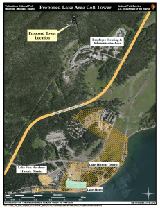 A map shows the location of a recently approved cell tower for the Lake/Fishing Bridge Area. The antennae will be positioned to minimize spillover into backcountry areas, according to planning documents. (National Park Service Image — click to enlarge)