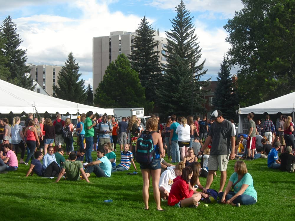 University of Wyoming students gather for an opening week barbecue at the start of the fall 2013 semester. The new President Robert Sternberg aims to make the university the top land grant school in the nation (WyoFile photo/Gregory Nickerson — click to enlarge)
