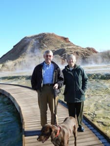Gary and Arlene Williams took their dog Boone on a volksmarch in Hot Springs State Park. (Photo courtesy Lois Petersen)