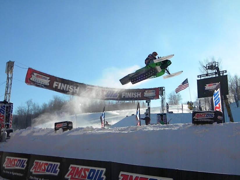 Kaden Woodie competes in a sno-cross race in Ironwood, Mich. (Photo courtesy Kym Woodie – click to enlarge)