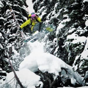 Lynsey Dyer, a professional freeskier who lives in Jackson, skis in Retallack, Canada. (Photo courtesy Unicornpicnic Productions – click to enlarge).