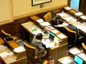 The seat of former Rep. Sue Wallis at upper left. (WyoFile/ Gregory Nickerson — click to enlarge)