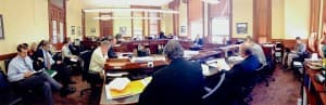 The Joint Conference Committee discusses the budget balancing amendment. (WyoFile/Gregory Nickerson — click to enlarge)