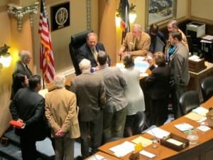 House Speaker Lubnau confers with House Rules Committee. (WyoFile/Gregory Nickerson — click to enlarge)
