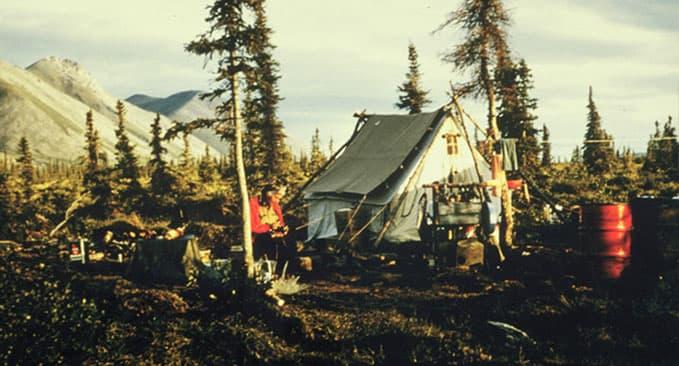 Mardy Murie and her living quarters, Last Lake, Sheenjek River Valley, Alaska