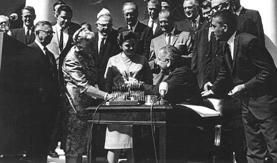 President Lyndon Johnson signs the Wilderness Act, 1964