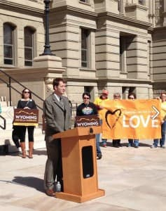 REp. Dan Zwonitzer (R-Cheyenne) speaks at a Wyoming Unites for Marriage rally. He was among a group of Republican lawmakers who filed an Amicus Brief in a Utah same-sex marriage case to be heard in the 10th Circuity Court of Appeals in Denver. (Wyoming Unites for Marriage — click to enlarge)