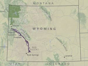 The mule deer migration travels from Wyoming's Red Desert, through the Green River Basin, and into the Hoback region. (Migration Initiative — click to enlarge)