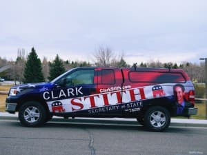 Clark Stith's campaign vehicle. (Courtesy Friends for Clark Stith — click to enlarge)
