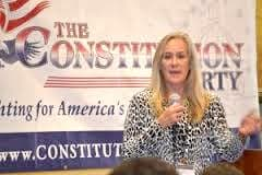 Jennifer Young, chair of the Constitution Party, speaks at an event. (Courtesy Vote Jennifer Young Secretary of State — click to enlarge)