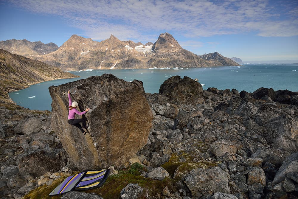 Angie Payne boulders in Greenland. Payne will be in Lander for the International Climber's Festival where she will speak, teach a clinic and participate in a discussion on women in climbing. (Photo by Keith Ladzinski -click to enlarge)