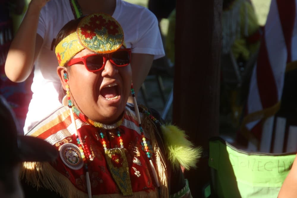 A member of the Wildhorse Singers belts out a song during the Eastern Shoshone Indian Days. The group from North Battleford, Saskatchewan served as Northern Host Drum. (Gregory Nickerson /  WyoFile — click to enlarge)