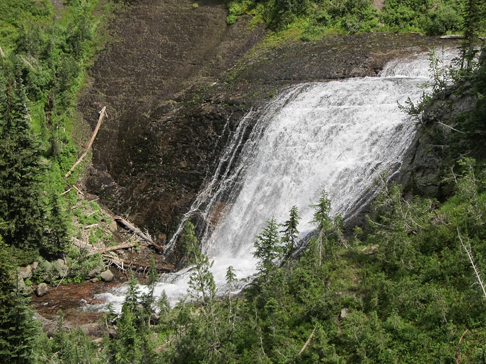 The Bechler area is known for its high concentration of waterfalls, some can be seen from the trail. Others like Twister Falls are viewed just off the main path. (Photo by Kelsey Dayton - click to enlarge)