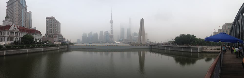 "This view of ""The Bund"" in Shanghai reveals ongoing air quality problems in China's cities, which is mostly the cause of burning fossil fuels. (Dustin Bleizeffer/WyoFile — click to enlarge)"