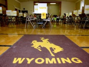 The polling place at Lincoln Community Center in Laramie. (Gregory Nickerson/WyoFile — click to enlarge)