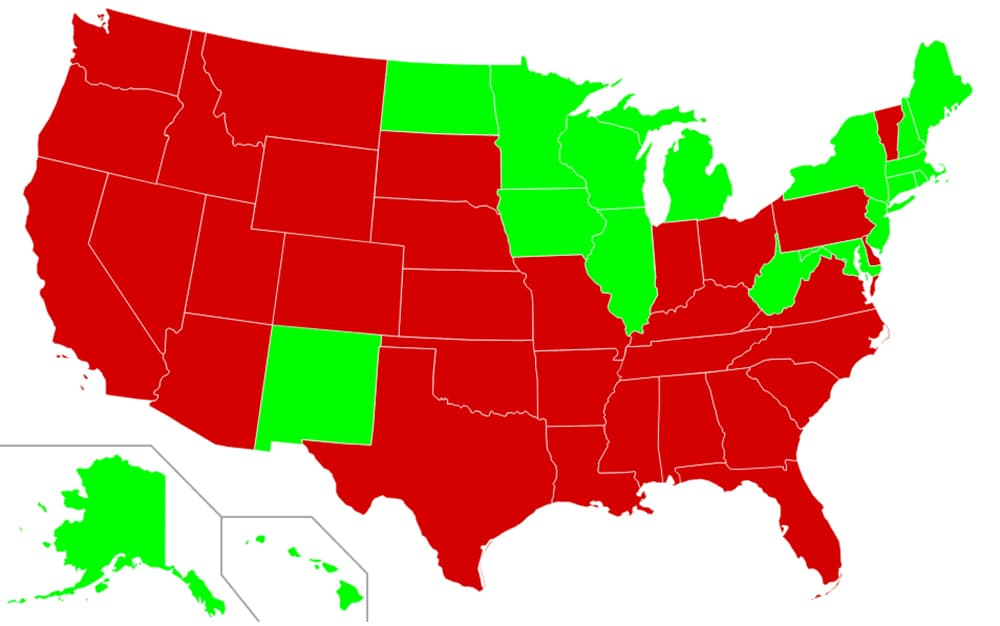 Eighteen states have abolished the death penalty (green) while 32 states still have capital punishment. (Wikipedia — click to enlarge)