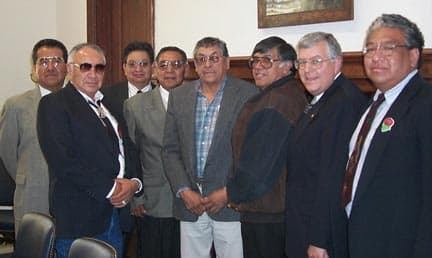 The Northern Arapaho have withdrawn from a the Joint Business Council, effectively dissolving anentity that federal and state agencies regularly met with to deal with issues on the Wind River Reservation. The Shoshone and Arapaho Joint Business Council met with Sen. Mike Enzi on April 13, 1999 to discuss issues on the reservation. The attending members were from left to right Wes Martel, Eastern Shoshone; Nelson White, Northern Arapaho; Burnett L. Whiteplume, Northern Arapaho; Al Addison, Chairman of Northern Arapaho; Hugh Friday, Northern Arapaho; Ivan Posey, Co-chairman, Eastern Shoshone and Vernon Hill, Eastern Shoshone  (Enzi.gov — click to enlarge)