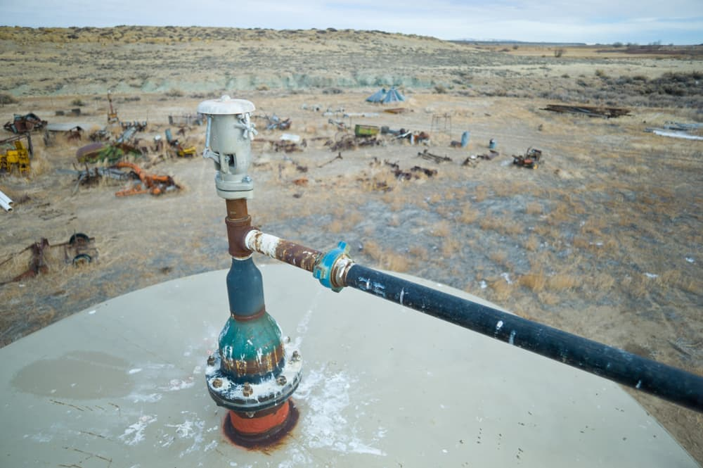 A gas tank valve in Pavillion. (Angus M. Thuermer Jr./WyoFile)