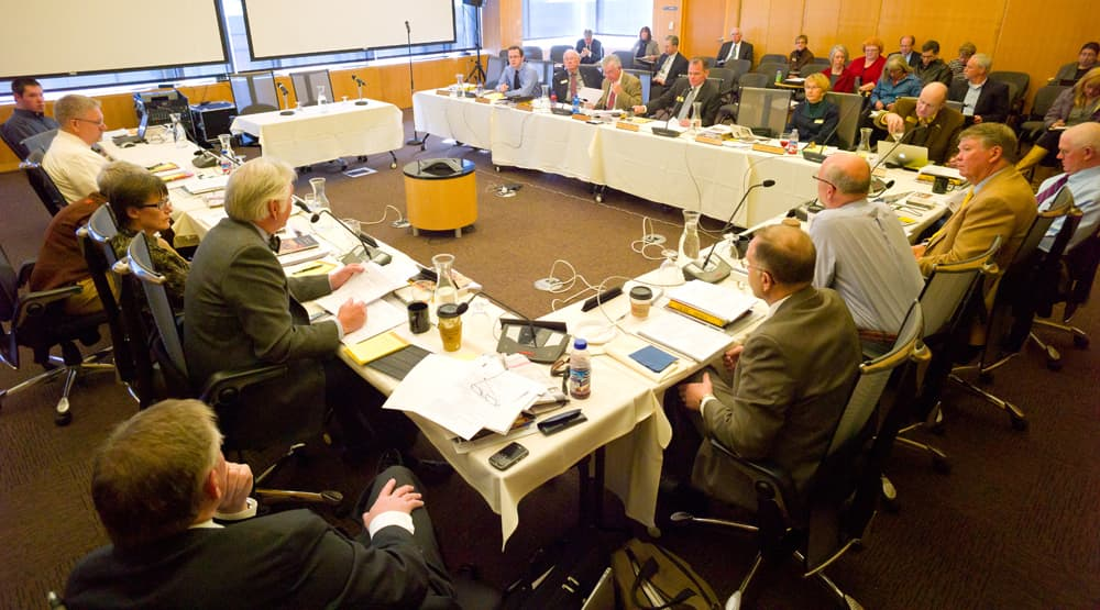 University of Wyoming trustees meet at the Coe Library in 2013. Voters face a constitutional amendment question Tuesday that asks whether out-of-state residents should be allowed to serve on the board. (Angus M. Thuermer Jr./WyoFile Ñ click to enlarge)
