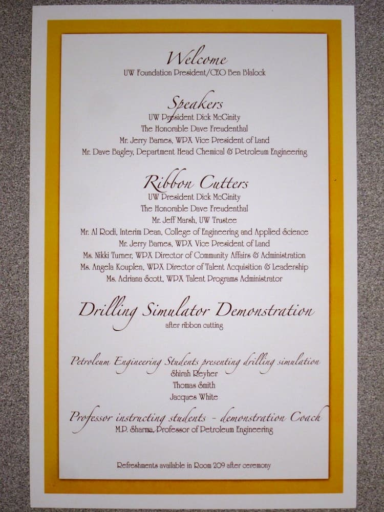 The program from the drilling simulator dedication. (WyoFile/Gregory Nickerson — click to enlarge)