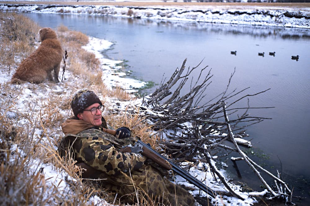 Ducks Unlimited member Fred Kingwill and Sprigger hunt on the Salt River in Star Valley. Waterfowl hunters contribute to wildlife management through taxes on guns and ammo, as well as by buying licenses and duck stamps. Ducks Unlimited is the top hunters' conservation group in the country, a recent study says. (Angus M Thuermer Jr/WyoFile Ñ click to enlarge)