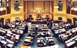 The floor of the Wyoming House of Representatives. Republican and Democratic lawmakers met over the weekend to appoint committees for the 2015 and 2016 Wyoming legislative sessions. (WyoFile/Gregory Nickerson — click to enlarge)