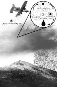 This image explaining cloud seeding shows the chemical either silver iodide or dry ice being dumped onto the cloud, which then becomes a rain shower. The process shown in the upper-right is what is happening in the cloud and the process of condensation to the introduced chemicals. (Wikipedia — click to enlarge)