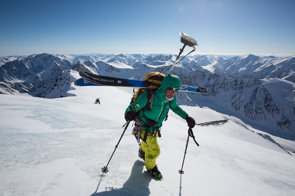 Skiing for science; National Geographic adventurer maps glaciers
