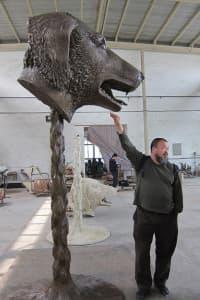 The massive bronze sculptures artist Ai Weiwei creates weigh more than 800 pounds.